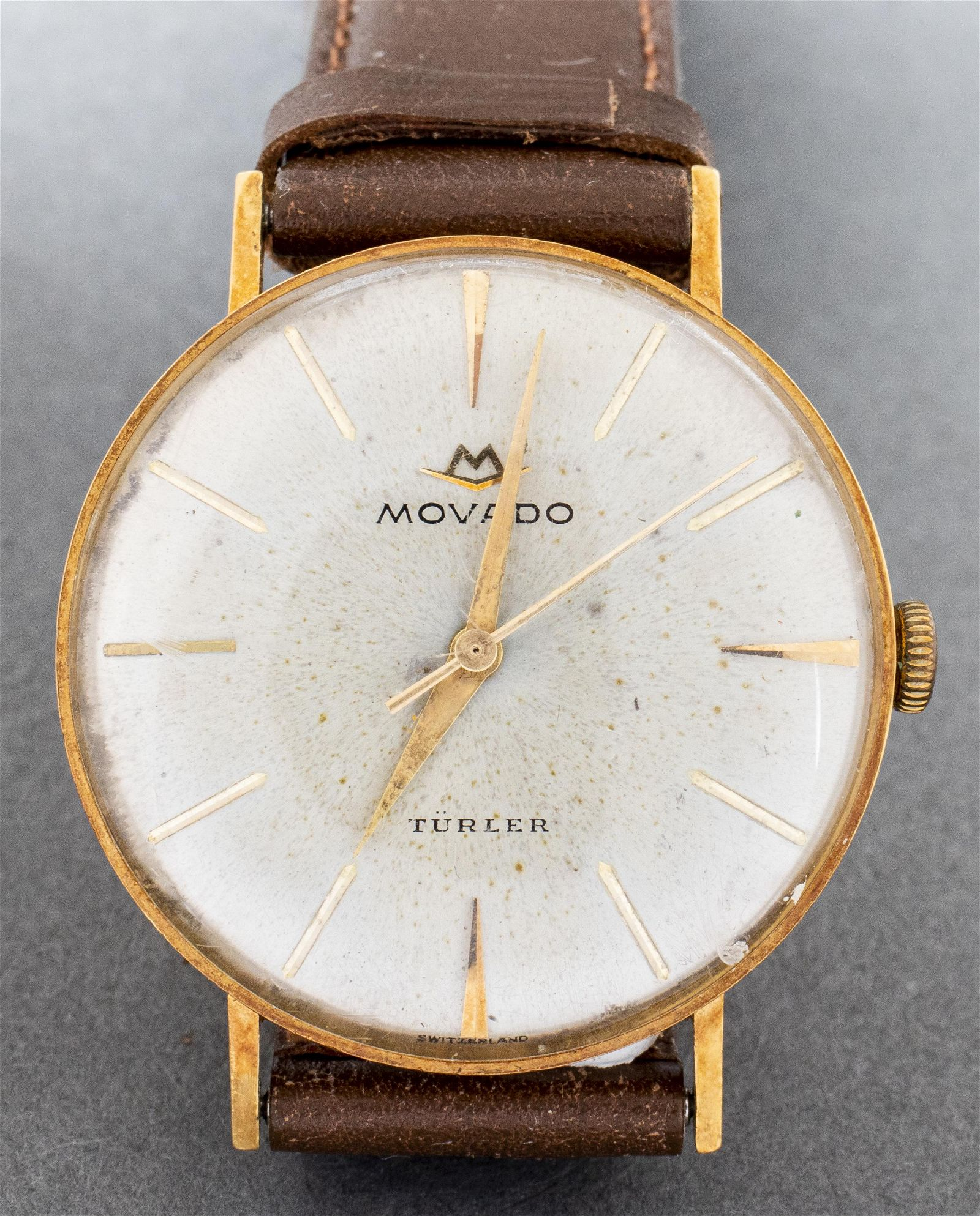 Vintage Movado 14K Yellow Gold Leather Strap Watch