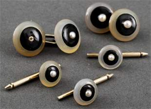Art Deco 14K Gold, Moonstone, Onyx Pearl Dress Set