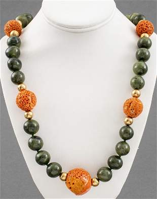 14K Yellow Gold Coral & Neprite Jade Bead Necklace