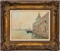 "Jane de Glehn ""Punta della Dogana"" Oil on Panel"