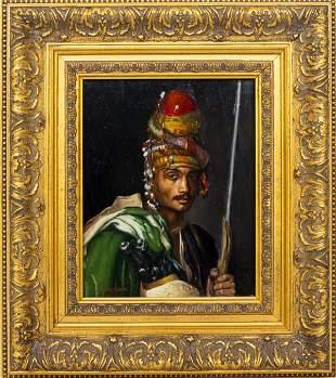 N. Henry Bingham Orientalist Portrait of a Man Oil