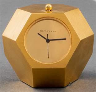 Tiffany & Co. Bronze Geometric Desk Clock