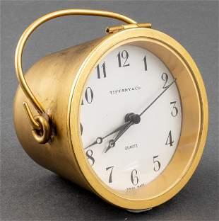 """Tiffany & Co. Brass """"Bucket"""" Desk Clock"""