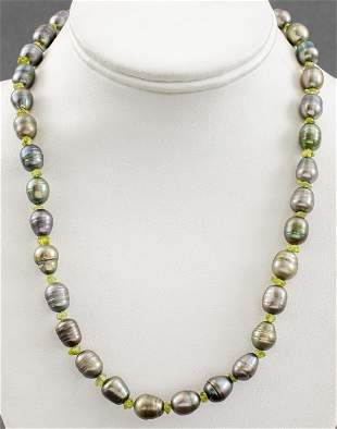 Baroque Grey Pearl & Peridot Bead Necklace