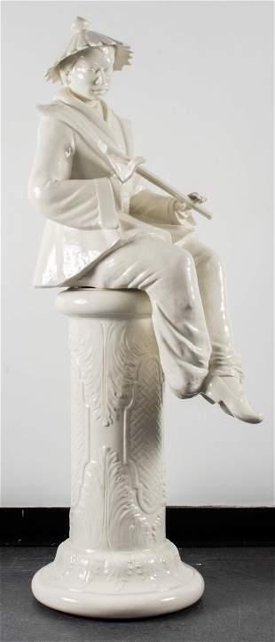 Italian Majolica Chinoiserie Figural Sculpture