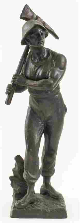 """The Miner"" Cast Metal Sculpture, 20th Century"