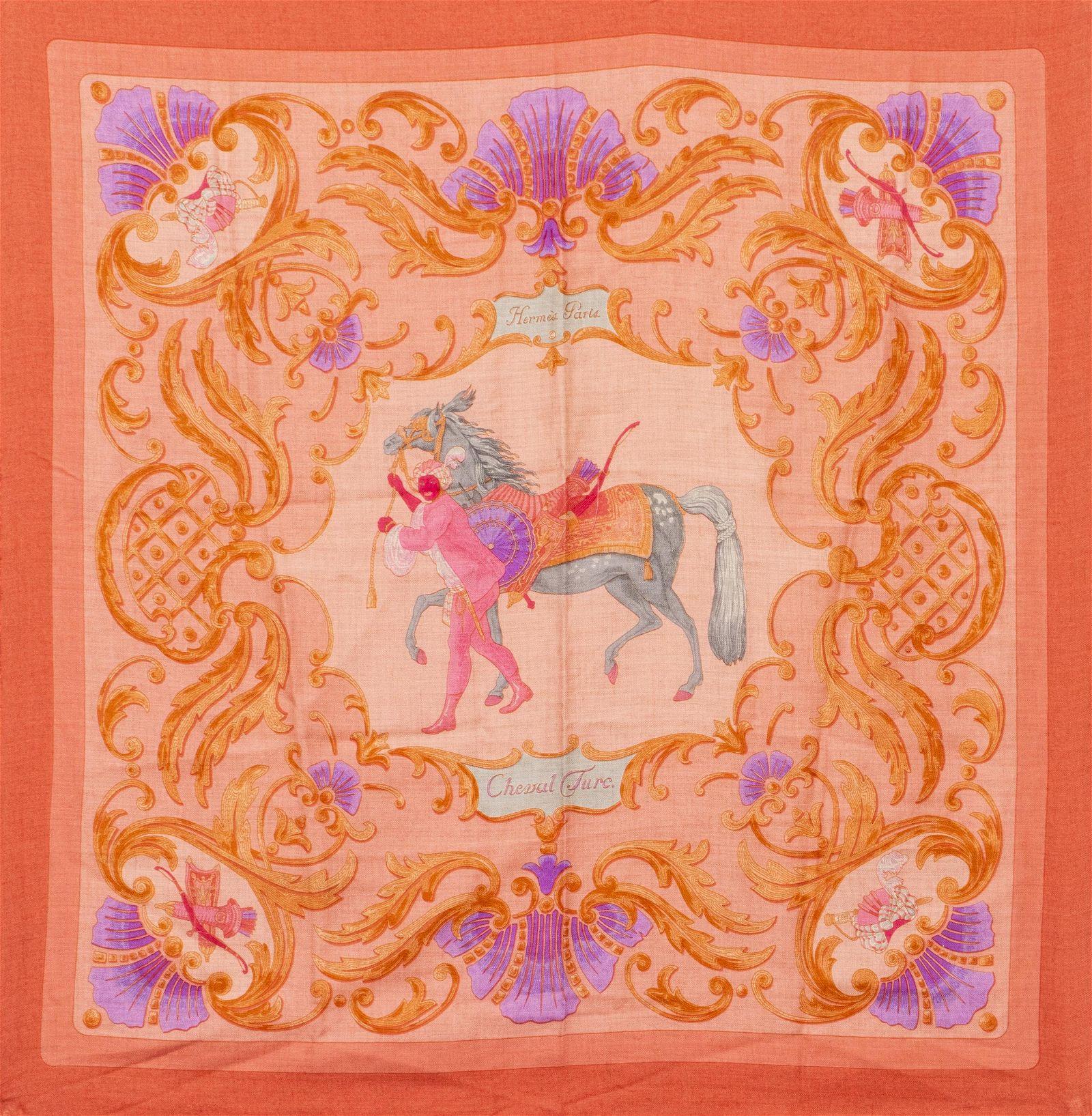 """Hermes """"Cheval Turc"""" Silk & Cashmere Scarf"""