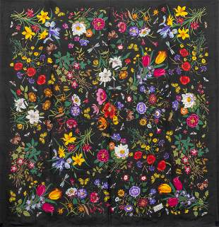 Gucci Sheer Silk Shawl with Flowers & Insects