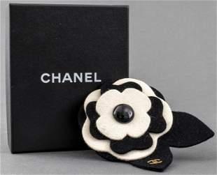 Chanel Black & White Felt Camellia Flower Brooch