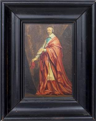 "Continental ""Portrait of a Cardinal"" Oil on Panel"