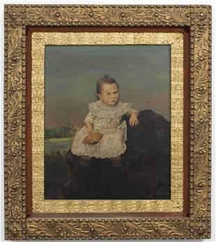 "American School ""Portrait of Child"" Oil on Canvas"