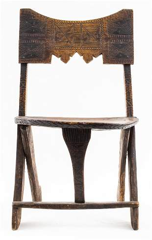 West African Carved Wood Chair