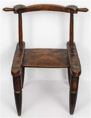 West African Senufo Wood And Metal Low Chair