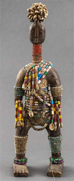 African Namji Carved Wood Doll W Beads, Cameroon
