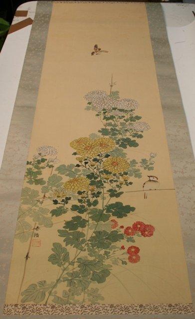 Japanese Chrysanthemum Scroll w/ Ivory Handles