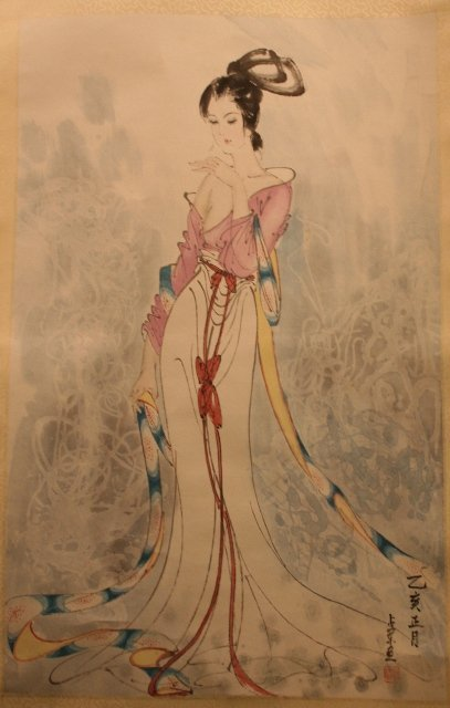 Chinese Scroll Watercolor of a Woman 20th C.