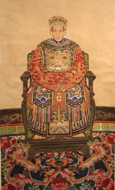 Chinese Scroll Painting of Female Ancestor 20th C.
