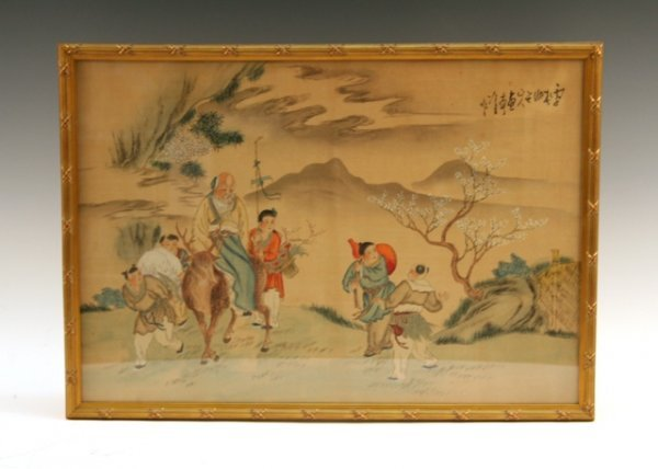 Chinese Silk Painting of Old Man on Deer & Figures