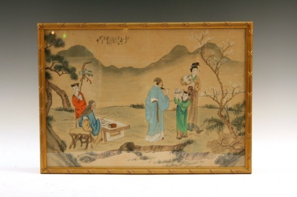 Chinese Silk Painting of Scholars & Figures 20th C