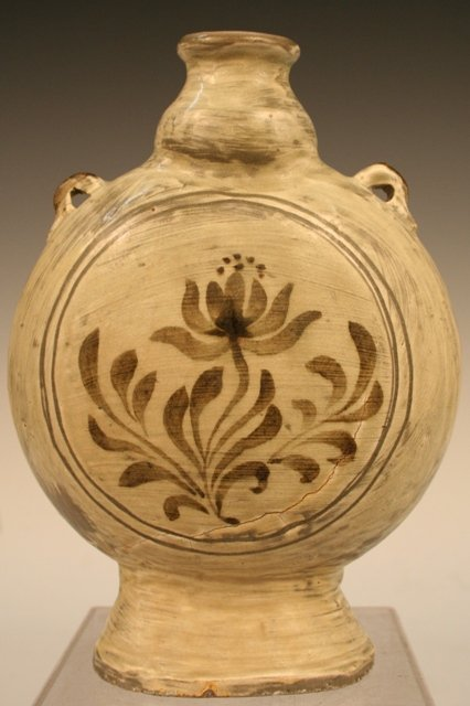 Joseon-Korean Iron-Brown Ceramic Footed Flask