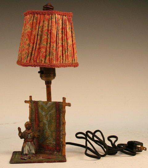 Austrian Painted Metal Orientalist Desk Lamp