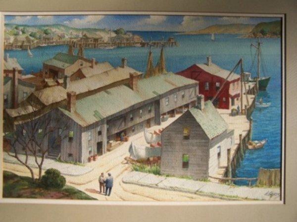 Henry Gasser Landscape Watercolor Summer Dock
