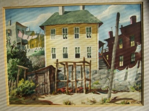Henry Gasser Landscape Watercolor Yellow House