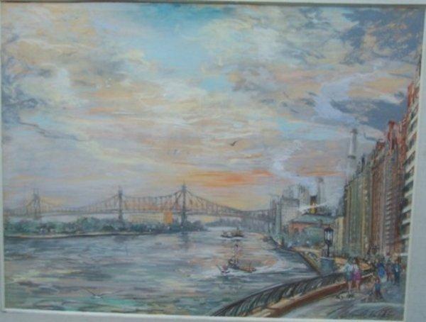 Kubik Impressionist Pastel Queensborough Bridge