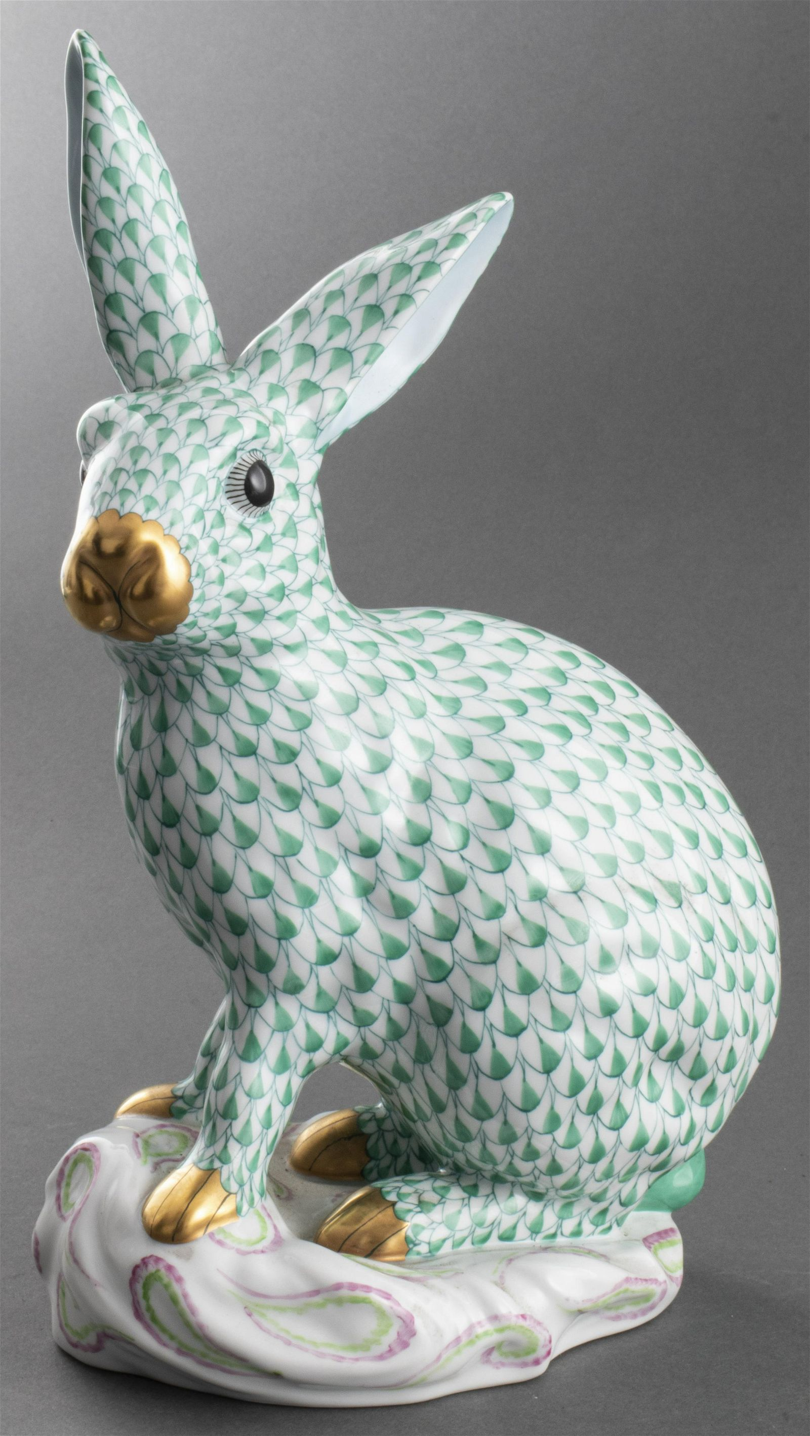 Herend Porcelain Large Rabbit Sculpture