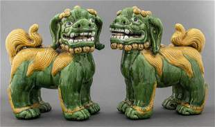 Chinese Export Green Porcelain Foo Dogs, Pair
