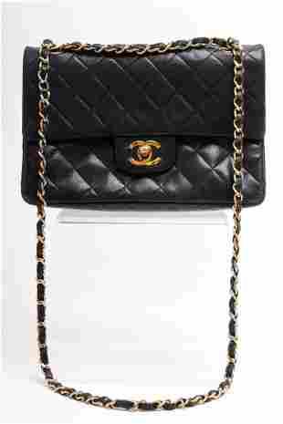 Chanel Vintage Black Quilted Leather Handbag