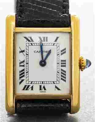 Cartier 18K Yellow Gold Tank Lizard Strap Watch