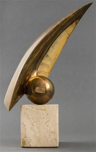 Illegibly Signed Bronze And Travertine Sculpture