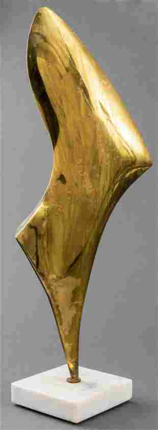 Modern Abstract Bronze And Marble Sculpture