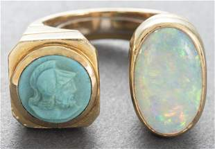 18K Yellow Gold Opal & Carved Turquoise Ring