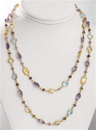 14K Yellow Gold Multi-Colored Stone Long Necklace