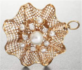 Edwardian 14K Gold Diamond & Pearl Brooch/Pendant