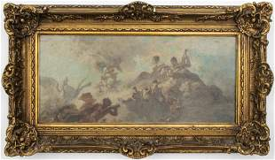 "Luigi Loir ""Mythological Scene"" Oil on Board"