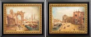 Antique Venetian Scene Oil on Canvas, Pair