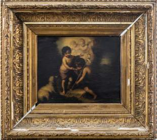 "After Murillo ""Christ & St. John the Baptist"" Oil"