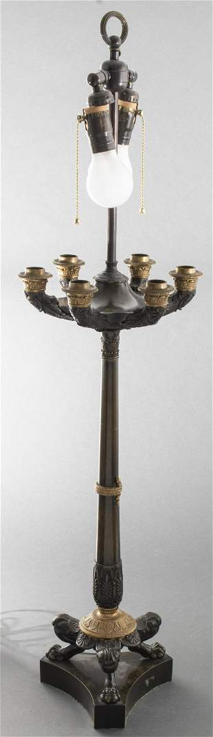Charles X Style Gilt And Patinated Bronze Lamp