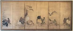 Japanese Hasegawa School Six-Panel Screen 18th C.