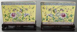 Chinese Famille Jaune Jardinieres On Stands, Pair