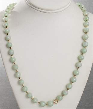 14K Chinese Character Clasp Jade Bead Necklace