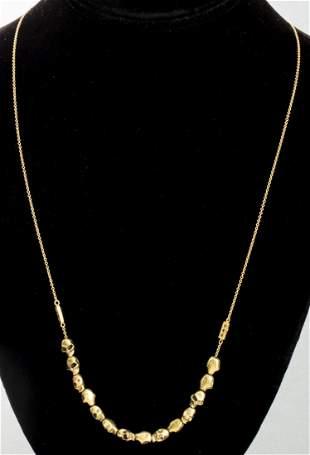 18K/14K Diamond Necklace W/ Gold-Tone Skull Beads