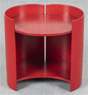 Modern Red Stained Wood Side Table