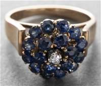 14K Yellow Gold Sapphire & Diamond Cocktail Ring