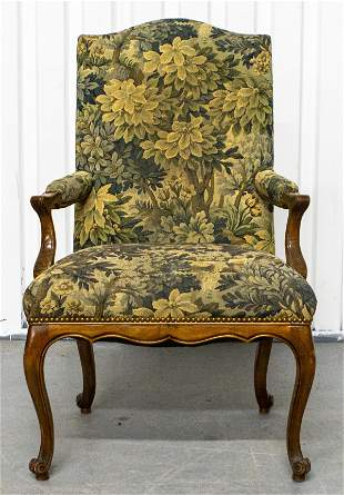 Louis XV Style Tapestry Upholstered Armchair