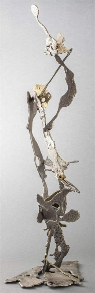 Modern Freeform Poured Mixed Metal Sculpture