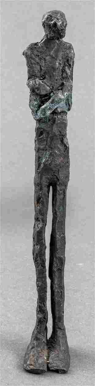 After Alberto Giacometti Brutalist Bronze Figure